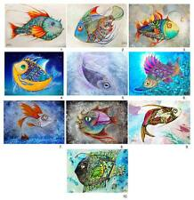 10 Different Fish ACEO LE Fish Art Prints of Original Painting by Xenia Hahonina