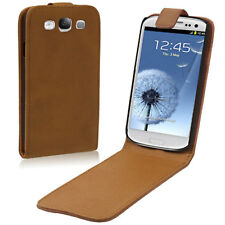 Brown Leather High Quality Flip Case Cover Pouch Samsung Galaxy SIII S3 i9300