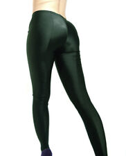 SHINY OPAQUE SPANDEX FOOTED LEGGINGS BOTTLE GREEN XS S M L XL XXL XXXL Tall