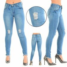 Womens Ladies Ripped Faded Frayed Hem Skinny Destroyed Distressed Denim Jeans