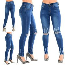 Ladies Womens Frayed Skinny Knee Ripped Studded Distressed Destroyed Denim Jeans