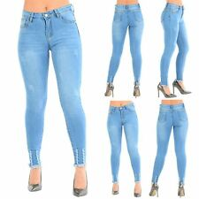 Womens Ladies Ripped Skinny Fit Frayed Raw Edges Destroyed Stretchy Denim Jeans
