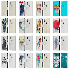 OFFICIAL ROBERT FARKAS ANIMALS 2 LEATHER BOOK CASE FOR APPLE iPHONE PHONES