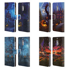 OFFICIAL GENO PEOPLES ART HALLOWEEN LEATHER BOOK CASE FOR MICROSOFT NOKIA PHONES