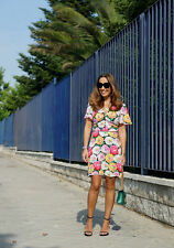 Zara Rose Florale Robe manches courtes taille S M ref 7750 517 neuf