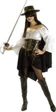 Adult Sexy Licensed Deluxe Female Zorro Bandit Ladies Fancy Dress Costume Outfit