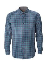 Gabicci Checked Shirt Blue Navy Calypso  35GW05 Classic Mens Button Collar Sale