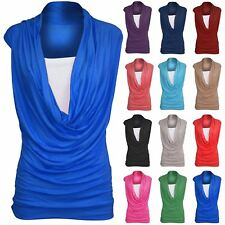 Womens Sleeveless Ladies 2 in 1 Plain Cowl Neck Gathered Vest Double Top T Shirt