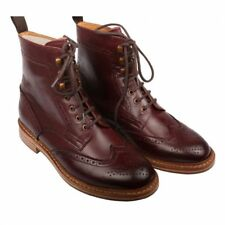 MEN HANDMADE GOOD YEAR WELTED SOLE SHOES MENS MAROON ANKLE HIGH LEATHER BOOTS