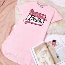 Barbie Slogan Hello I'm Barbie T-Shirt  Night Dress Pyjama UK Size 4-24 BNWT