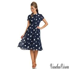 Voodoo Vixen New Collection18 S/S Vintage Mary Under-The-Sea Printed Swing Dress