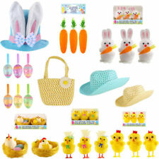 Bunnies W/carrot Easter Party Supplies Yellow Chicks Family On Nest Glitter Eggs