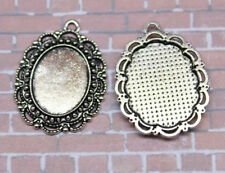10/30pcs Antique Silver Tone Alloy Lace Oval Cameo Setting Inner Size:17.6x14mm