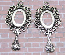 3/15pcs Antique Silver Tone Alloy Lace Oval Cameo Setting Inner Size:16x16mm