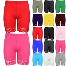 Womens Gym Cycle Pants Ladies Workout Bike Tight Scallop Lace Hem Trim Shorts