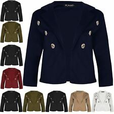 Womens Basic 3/4 Sleeve Blazer Top Ladies Gold Buttons Collar Cropped Cardigan