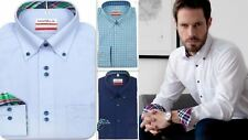 Mens Shirt Marvelis Slim Tailored Modern Fit Non Iron Cotton Button-Down Collar