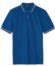 Fred Perry Polo T- Shirt - M3600 - F74 - Prince Blue Carbon Oxford - Twin Tipped