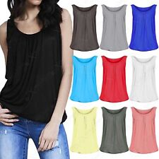 NEW LADIES PLAIN JERSEY BUBBLE VEST WOMENS SLEEVELESS LOOSE SUMMER LOOK GYM TOP