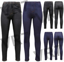 Womens Stretchy Denim Look Skinny Ladies Pack of 2 Jeggings Leggings Plus Size