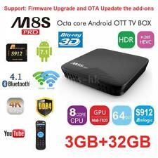 M8S PRO DDR4 3GB+16GB/32GB Android7.1 TV Box S912 Octa Core Dual WIFI 4K Mini PC