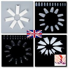 Details about  UK 500/600 Natural Clear Half Full French False Nail Art Tips Ac