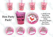 BULK BUY HEN NIGHT PARTY DO SHOT GLASS GLASSES BRIDE TO BE HEN  PARTY BADGES FUN