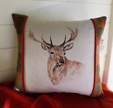 STAG HARRIS TWEED Country Complete Cushion or Cover Only Autumn Patchwork Orange