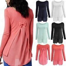 NEW LADIES PLUS SIZE BOW BACK CHIFFON INSERT JUMPER WOMENS FINE KNIT SLEEVED TOP