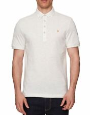 Farah Merriweather Short Sleeved Polo Shirt in Chalk Marl
