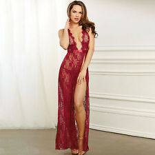 Women Sexy Lace Maxi Dress Semi Sheer Halter Backless See Through Nightwear