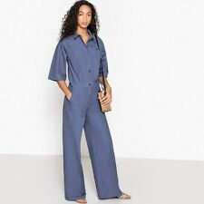La Redoute Collections Womens Wide Leg Jumpsuit With Shirt Collar And Short