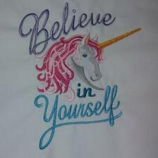 Personalised Custom Machine Embroidered Towels 'Believe in Yourself' Unicorn