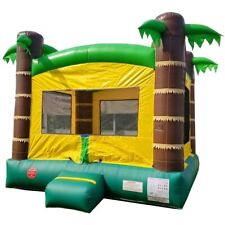 Tropical Castle Inflatable Bounce House Moonwalk With Blower Kids Party Moonwalk