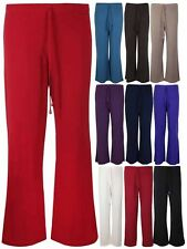 NEUF Femmes uni pantalon jambes larges extensible Palazzo Grande Taille 12-30