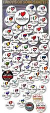 """EUROVISION SONG CONTEST PARTY BADGES/ EUROVISION SWEEPSTAKE~ 55 MM/ 2.2 """""""