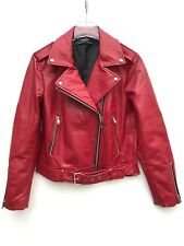 Zara Rouge Veste motard simili cuir taille XS S M L NEUF