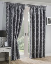 Sundour Luxury Chenille Damask Mayfair Fully Lined Pencil Pleat Curtains Silver