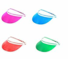 Retro Unisex Neon Sun Visor Hat Golf Tennis Stag Poker Party Headband Cap UK, Dance Wear, Do Stag Fancy Dress Accessories Pack OF 4