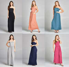 Womens Casual Strapless Long Empire Cut Solid Maxi Dress with Pockets