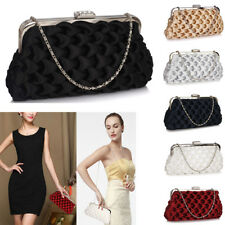 New Ladies Wave Folds Evening Clutch Bag Women's Evening Prom Party Purse UK