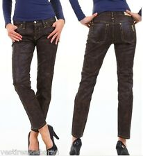 Jeans Donna Pantaloni SEXY WOMAN Eff. Pelle Made in Italy A615 Tg S veste XS/S