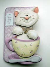 Tea Cup Cat Hand Crafted 3D Decoupage Card Birthday & Various Options Get Well