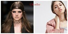 golden silver geometric circle loop chain charm statement choker collar necklace