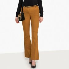 La Redoute Collections Womens Cotton Satin Bootcut Trousers, Length 32.5