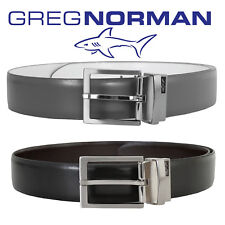 New 2018 Season Greg Norman Reversible Leather Belt Metal Buckle