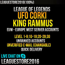 League of Legends Account EUW Unranked Smurf Ufo Corki King Rammus Level 1 - 30