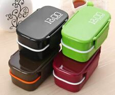 Double Tier Lunch Box 4 Colours Large Lunch Box Set Tableware Microwave Lunch Bo