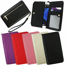 PU Leather Clutch Purse Folio Pouch Sleeve Fits Assistant Phones