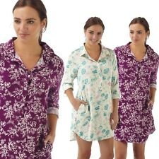 Ladies Woven Soft Viscose Button Front Floral Print NightShirt Sml Med Large XL